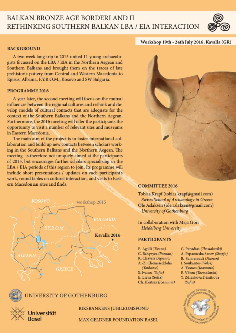 Balkan Bronze Age Borderland II 2016 flyer v3
